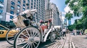 NEW YORK CITY - JUNI 2013: Hästvagnen väntar på kunder på 59 Fotografering för Bildbyråer