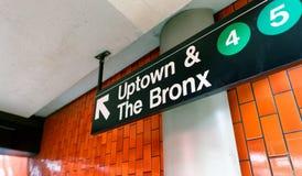 NEW YORK CITY - JUNI 8, 2013: Uptown och det Bronx stationstecknet Arkivbild