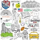 New York City klottrar beståndsdelar Hand dragen uppsättning med, taxi, kaffe, hotdog, staty av frihet, broadway, musik, kaffe, t royaltyfri illustrationer