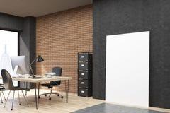 New York City kontor med den near svarta väggen för vertikal affisch Royaltyfri Bild