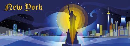 New York City kontur i natt Fotografering för Bildbyråer