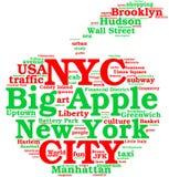 New York City, la nube grande de la etiqueta de la manzana Fotos de archivo libres de regalías