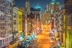 New York City la nuit, Chinatown Photo stock