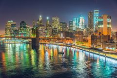 New York City la nuit, Manhattan Image stock