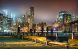 New York City la nuit, pont de Brooklyn Photographie stock libre de droits