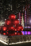 New York City landmark, Radio City Music Hall in Rockefeller Center decorated with Christmas decorations in Midtown Manhattan Royalty Free Stock Photography