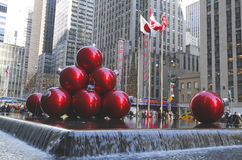 New York City landmark, Radio City Music Hall in Rockefeller Center decorated with Christmas decorations in Midtown Manhattan Royalty Free Stock Image
