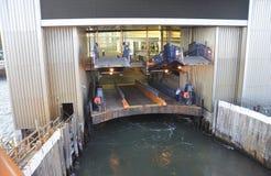 New York City, le 3 août : Staten Island Ferry Terminal de Manhattan inférieure à New York City Photographie stock