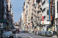 New York City, 2018 : Les rues et les trottoirs de SoHo image libre de droits