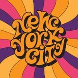 New York City Lettrage 60s et 70s psychédélique classique illustration de vecteur