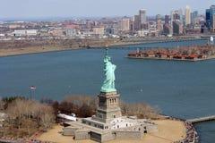 New York City Liberty Island Helicopter stock image