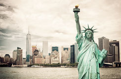 New York City and Liberty Statue Stock Photos