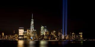 New York City Light Tribute. New York City skyline in lower Manhattan with 9-11 light tribute Royalty Free Stock Photos