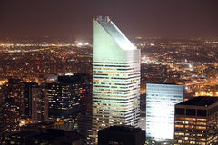New York City Lights. Citicorp Center by night view from rockefeller royalty free stock image