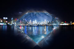New york city lights coastline in diamond Stock Photo