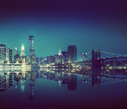 New York City Lights Scenic Bridge View Concept Royalty Free Stock Photography