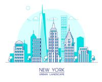 New York city line vector illustration. Famous buildings and skyscrapers. Cityscape. Stock Photography