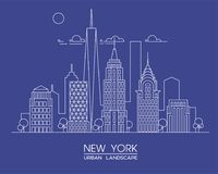 New York city line vector illustration. Famous buildings and skyscrapers. Cityscape. Stock Photo