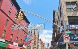 New York City, Little Italy - June 21, 2017 - street scene  in New York City`s Little Italy. New York City, Little Italy - June 21, 2017 - street scene with Stock Photos