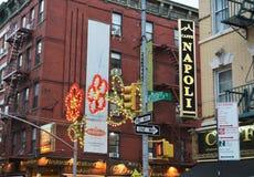 New York City Little Italy Restaurants Busy Street Tourism stock image