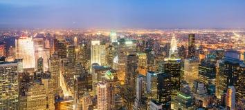 New York City ljus på natten royaltyfri foto