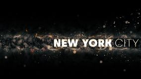 New York City Logo - Creative Illustration - Sparks at Night Stock Photo