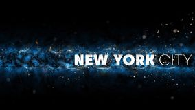 New York City Logo - Creative Illustration - Sparks at Night - Blue Version Stock Photography