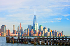 New York City lower Manhattan buildings skyline Stock Photo