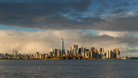 New York City Lower Manhattan cityscape time lapse video with afternoon rain storm stock video