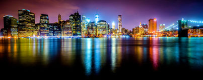 New York City Lower Manhattan night skyline 1 Stock Photo