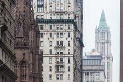 New York City, Lower Manhattan, skyscrapers on Broadway street. Royalty Free Stock Photography