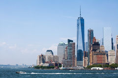 New York City at Lower Manhattan skyscrapers and One World Trade Center.  stock image