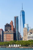New York City at Lower Manhattan skyscrapers and One World Trade Center Royalty Free Stock Images