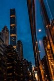 New York City, Madison Avenue - November 1, 2017:  Looking up at classic architecture and buildings on Madison Avenue at dusk Stock Image