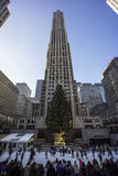 New York City Manhattan. Rockefeller Center lower plaza between 48th and 51st streets in New York City, United States at Christmas with tree Royalty Free Stock Photo
