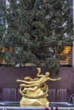 New York City Manhattan. Rockefeller Center lower plaza between 48th and 51st streets in New York City, United States at Christmas with tree Stock Photo