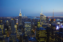 New York City Manhattan. Aerial view at dusk with urban city skyline and skyscrapers buildings Royalty Free Stock Photos