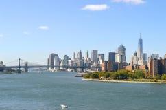 New York City. Manhattan Bridge and Brooklyn Bridge at sunny day Royalty Free Stock Photos