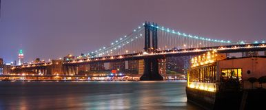 New York City Manhattan Bridge panorama stock photos
