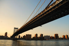 New York City Manhattan Bridge sunset Stock Photography