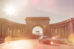 New York City, Manhattan bridge, triumphal arch and colonnade Stock Photo