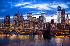 New York City Manhattan Brooklyn Bridge night Royalty Free Stock Photo