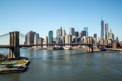 New York City Manhattan Brooklyn brosolnedgång Royaltyfri Fotografi