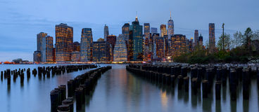 New York City manhattan buildings skyline evening taken. New York City manhattan buildings skyline evening Royalty Free Stock Images