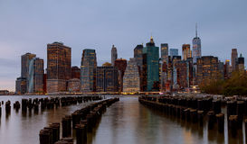 New York City manhattan buildings skyline evening taken. New York City manhattan buildings skyline evening Royalty Free Stock Photo