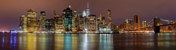 New York City manhattan buildings skyline night evening Royalty Free Stock Images