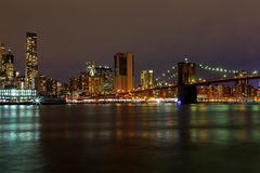 New York City manhattan buildings skyline night evening Stock Photo