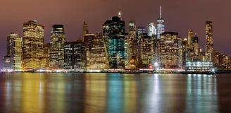 New York City manhattan buildings skyline night evening. Manhattan night New York City manhattan buildings skyline night evening Stock Photography