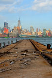 New York City, Manhattan buildings view from the Harbor Stock Photos