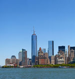 New York City, Manhattan buildings view. New York City, skyline panorama of lower downtown Manhattan business district Stock Photography